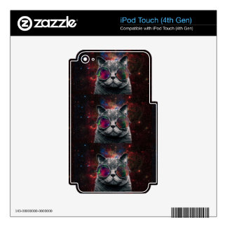 Space Cat Wearing Goggles in Front of the Galaxy Skins For iPod Touch 4G