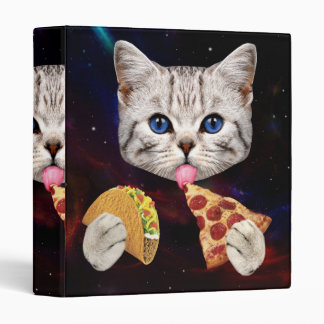 Space Cat with taco and pizza 3 Ring Binder