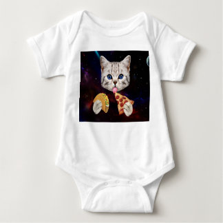 Space Cat with taco and pizza Baby Bodysuit