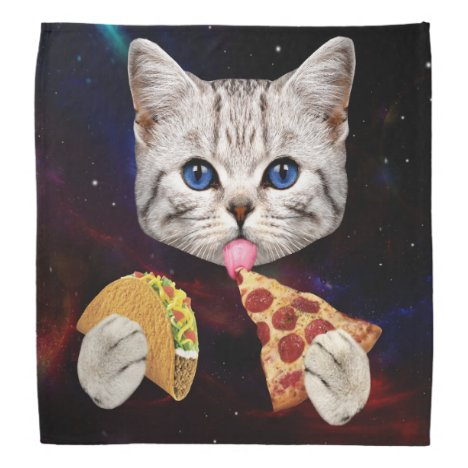 Space Cat with taco and pizza Bandana