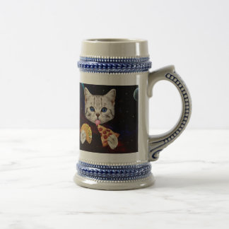 Space Cat with taco and pizza Beer Stein