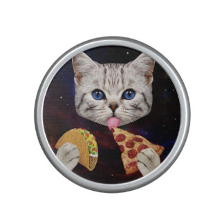 Space Cat with taco and pizza Bluetooth Speaker