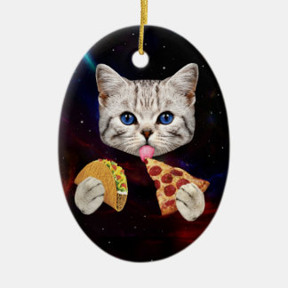 Space Cat with taco and pizza Ceramic Ornament