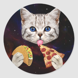 Space Cat with taco and pizza Classic Round Sticker