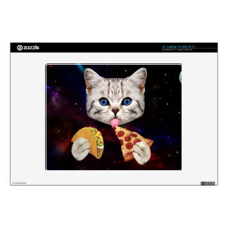 Space Cat with taco and pizza Decals For Laptops