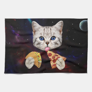 Space Cat with taco and pizza Hand Towels