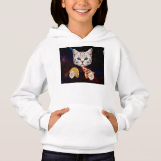 Space Cat with taco and pizza Hoodie