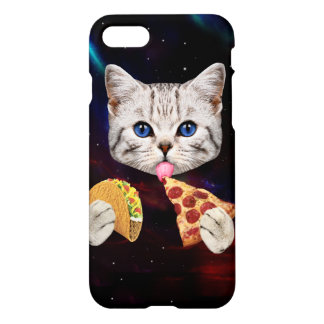 Space Cat with taco and pizza iPhone 7 Case