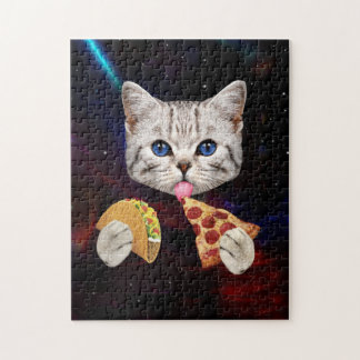 Space Cat with taco and pizza Jigsaw Puzzle