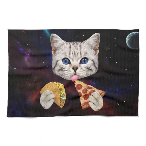 Space Cat with taco and pizza Kitchen Towel