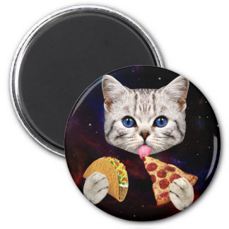 Space Cat with taco and pizza Magnet
