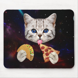 Space Cat with taco and pizza Mouse Pad