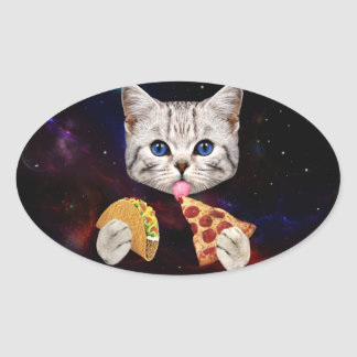 Space Cat with taco and pizza Oval Sticker