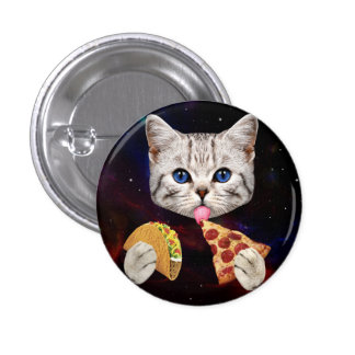 Space Cat with taco and pizza Pinback Button