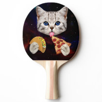Space Cat with taco and pizza Ping Pong Paddle