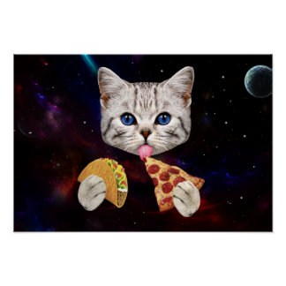 Space Cat with taco and pizza Poster