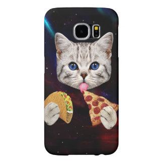 Space Cat with taco and pizza Samsung Galaxy S6 Case