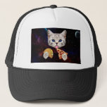 """Space Cat with taco and pizza Trucker Hat<br><div class=""""desc"""">pizza cat, cat memes, funny cats, space cat , taco cat, cute cats , galaxy kitty cosmic universe , kittens cosmos meow meme, pet cute feline lolcats , </div>"""