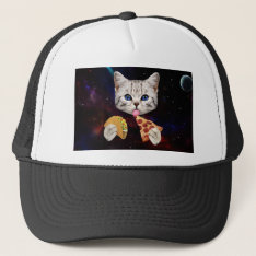 Space Cat With Taco And Pizza Trucker Hat at Zazzle