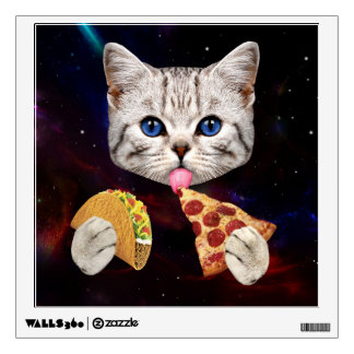 Space Cat with taco and pizza Wall Sticker
