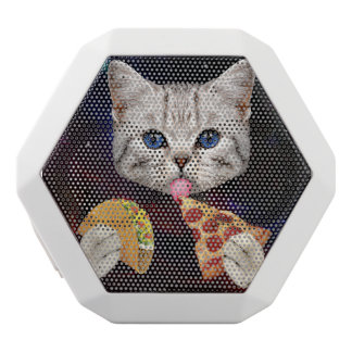 Space Cat with taco and pizza White Bluetooth Speaker