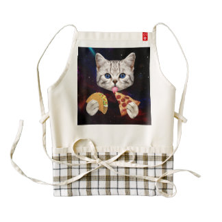 Space Cat with taco and pizza Zazzle HEART Apron