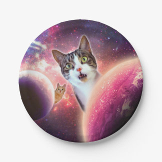 """Space Cats LOL Funny Custom Paper Plates 7"""""""