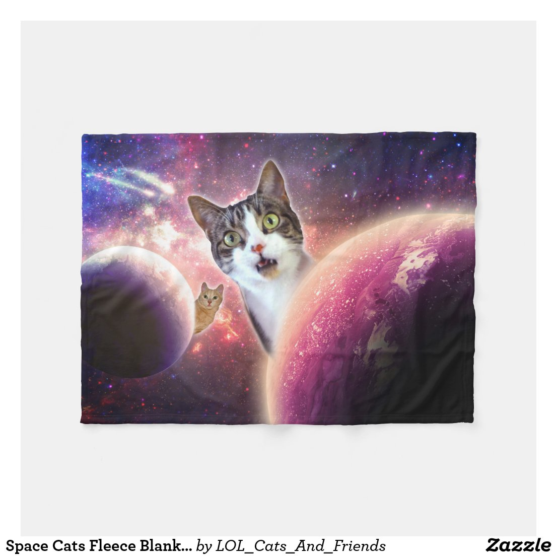 Space Cats LOL Funny Fleece Blanket, 30