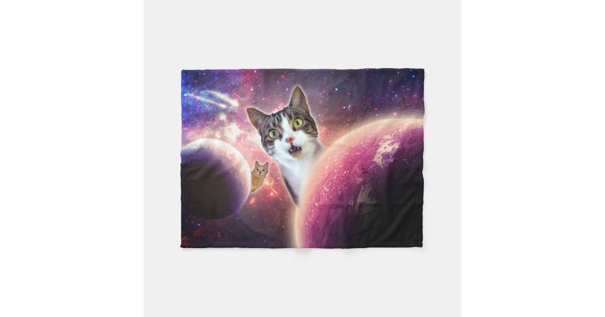 Space Cats Lol Funny Fleece Blanket 30 Quot X40 Quot Zazzle Com