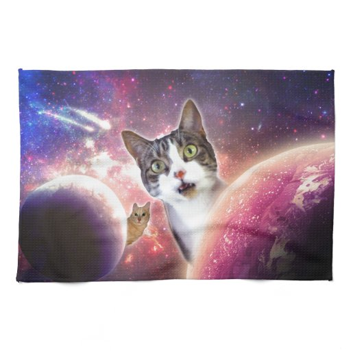 Space Cats LOL Funny Hand Towel