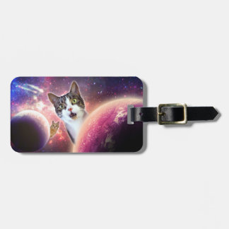 """Space Cats"" LOL Luggage Tag w/ leather strap"