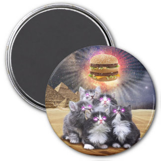 space cats looking for the burger 3 inch round magnet