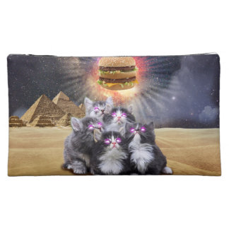 space cats looking for the burger makeup bag