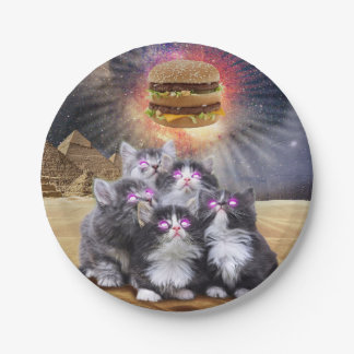 space cats looking for the burger paper plate