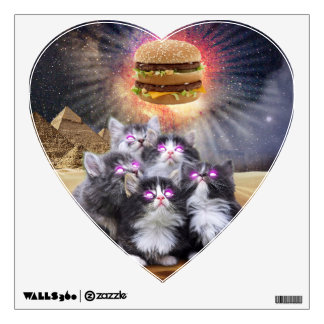 space cats looking for the burger wall decal