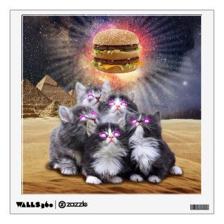 space cats looking for the burger wall sticker