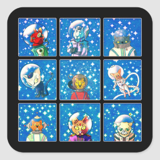 Space Cats Square Sticker