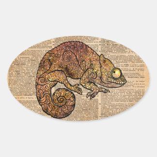 Space Chameleon Zentagle Dictionary Art Oval Sticker
