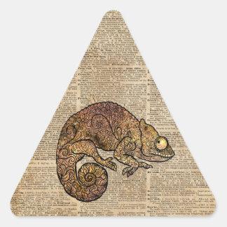 Space Chameleon Zentagle Dictionary Art Triangle Sticker