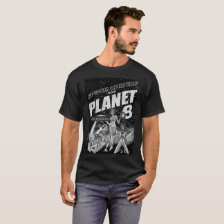 Space Chicks From Planet 8 black and white T-Shirt