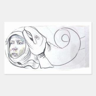Space Child with fish Rectangular Sticker