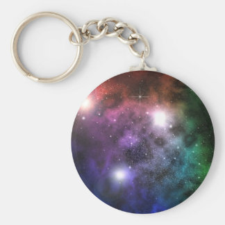Space Clouds Basic Round Button Keychain