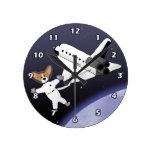 Space Corgis Round Clocks
