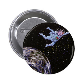 Space Cow Over Earth 2 Inch Round Button