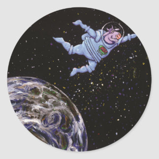 Space Cow Over Earth Classic Round Sticker