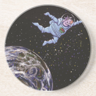 Space Cow Over Earth Beverage Coaster