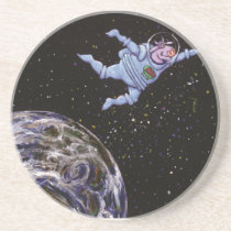 Space Cow Over Earth Sandstone Coaster