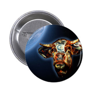 Space cow pinback button