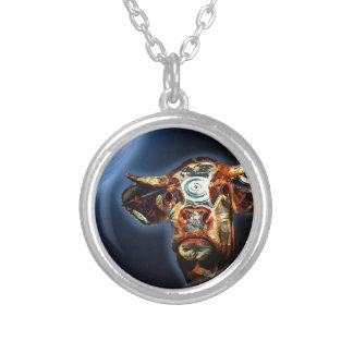 Space cow silver plated necklace