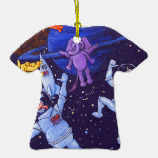 Space Cows and Space Elephants Double-Sided T-Shirt Ceramic Christmas Ornament